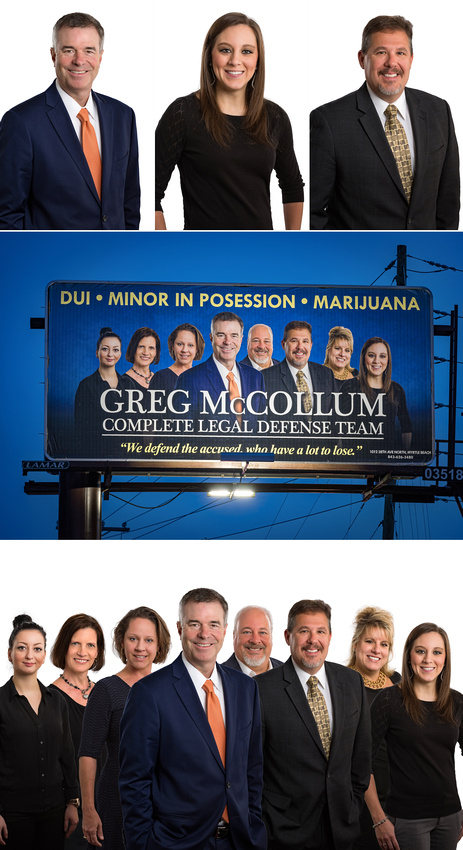 We are able to take individual portraits on a white background and in Photoshop combine the individual portraits to make one group portrait as was done with Greg McCollum Complete Legal Defense Team for their Billboard by Lamar.